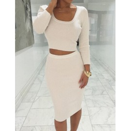 Fancy Knit Slinky Long Sleeve Crop Top and Pencil Skirt