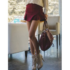 Trendy Woolen Skirt in Pure Color Design For Women Size:M-L
