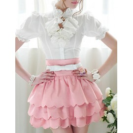 Sweet Waved Layers Skirt in Pure Color For Women Size:S-XL
