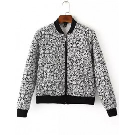 Casual Quilted Bomber Jacket in Floral Print Size:S-L