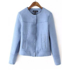 Concise Round Neck Long Sleeve Suede Jacket with Button Pockets Size:S-L