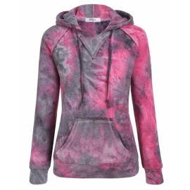 Meaneor Women Fashion Gradient Color Long Sleeve Hooded Pullover Hoodie