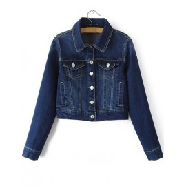 Classic Point Collar Denim Cropped Jacket with Button Closure Size:S-L