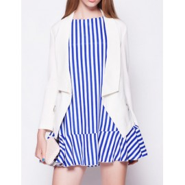 Graceful Fold Over Collar Slim Fit Blazer in Patch Pockets