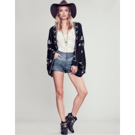Fashion Ladies Women 3/4 Sleeve Front Open Embroidery Lace Patchwork Loose Casual Tops Blouse