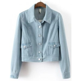 Basic Bleached Denim Cropped Jacket with Point Collar Size:S-L