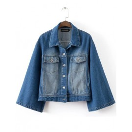Stylish Casual Denim Jacket with Bell Sleeve Size:S-L