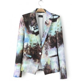 Vintage Painting Slim Fit Blazer in Single Button