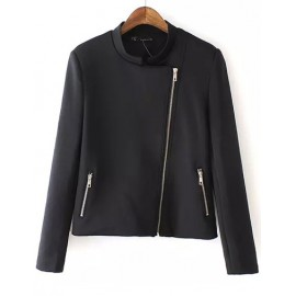 Concise Asymmetric Zip Cropped Jacket with Slanted Pockets Size:S-L