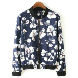 Casual Sporty Baseball Jacket in Floral Print Size:S-L