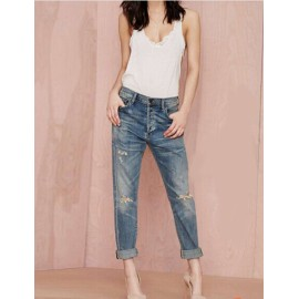 Boylymia 2016 Trends Blue Bleached Ripped Denim Pants
