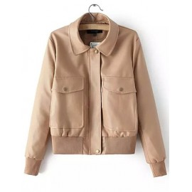 European Style PU Leather Jacket with Twins Oversized Pockets Size:S-L