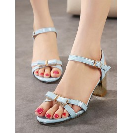 Sweet Bowknot Adornment Chunky Heel Buckled Sandals Size:35-39
