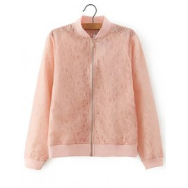 Pretty Sweet Zip Front Lace Jacket in Pink Size:S-L