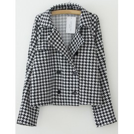 Loose Houndstooth Lapel Blazer in Double Breasted