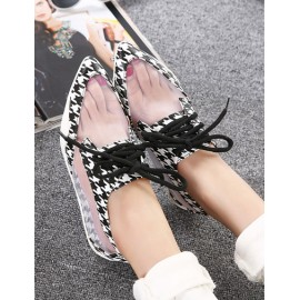 Vogue Houndstooth Printed Pointed Toe Flat Heels Size:35-40