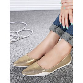 Laconic Pointed Toe Flat Heels in Two-Tone Size:35-40