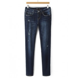 Korean High Waist Skinny Jeans with Distressed Detail Size:S-XL