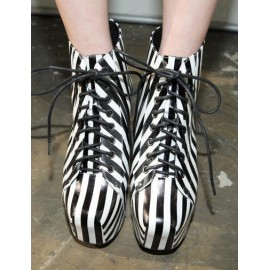 Trendy Lace-Up Ankle Boots in Stripes For Women Size:34-39