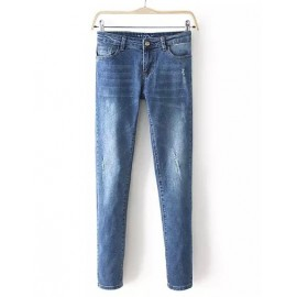 Street Single Button Washed Trim Jeans with Worn-Out Size:S-XL