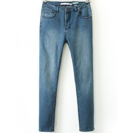 Classic Slim Fit Washed Jeans in High Rise Size:S-XL